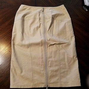 Lafayette 148 Beige Pencil Skirt Zipper Detail